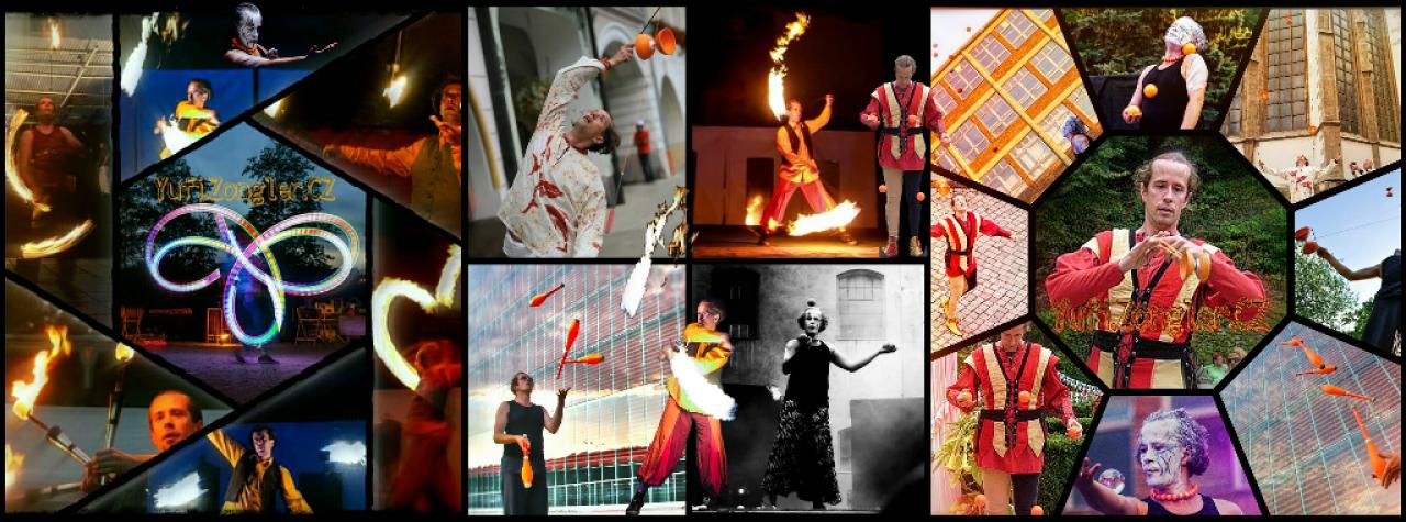 Yufi.Zongler.CZ - Profesionální žonglér, kejklíř a performer - Koláž